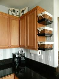 kitchen organizer baskets on shelves