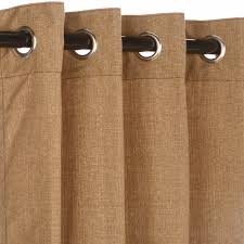 sunbrella linen sesame outdoor curtain with nickel plated grommets