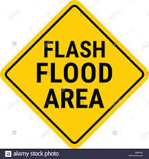 Warnschild Hochwasserwarnung. Flash ...