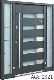 Grey Contemporary Aluminium Front Door With Horizontal Glass Insert