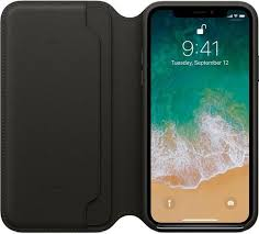 apple iphone x leather folio book leather cover for iphone 10 black ksa souq