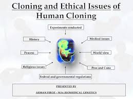 history of cloning and ethical issues of human cloning process religious issues experiments conducted federal and governmental regulations medical issues world view pros and con
