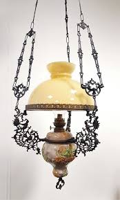 large hanging art nouveau cosmos brenner oil lamp ca 1900 germany