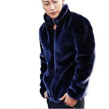 mink mens fur coats winter faux fur jacket men warm zipper luxury outerwear male leather jackets clothes drop blue black c18112201 coat men casual