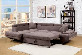 contemporary style furniture. Foreman Contemporary Style Brown Flannelette Fabric Pull Out Sectional Sofa  Bed W/ Adjustable Headrests Contemporary Style Furniture