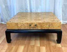 Large Burl Wood Coffee Table With Drawers Attributed To Henredon   Past  Perfect