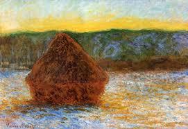 claude monet 1840 1926 wheatstack thaw sunset oil on canvas