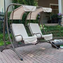 outside swing chair. Double White Fabric Patio Swing Seats With Canopy And Dark Brown Metal Legs Chair Seat Mainstays Cushions Garden Swings For Sale Outdoor Sets Furniture Outside E