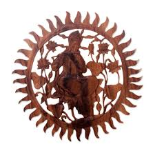 Wood Carved Wall Decor Novica Mulyani Hand Carved Round Krishna Wood Relief Panel Wall