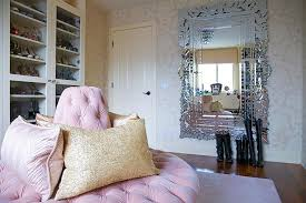 glam pink closet with pink ottoman and full length venetian wall mirror