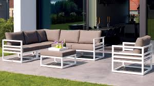 White Aluminum Fabri Outdoor Lounge Set with Taupe Cushions