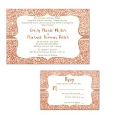 Amazon Com 100 Wedding Invitations Rose Gold Glitter Design