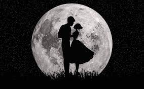 Download Moon, love, couple, dark, art ...