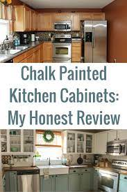 chalk painted kitchen cabinets 2 years