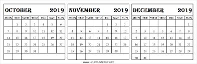 2019 October November December Calendar Online Blank Calendar