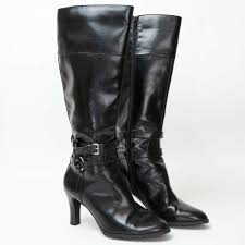 details about chaps womens knee high boots 9m black faux leather harness 3 5 heel fiameta