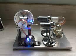 new diy metal base stirling engine model generator motor with led light birthday gift toys 5v