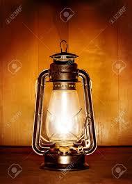 Oil Lamp Light Old Oil Lamp Light Over Wood Plank Background