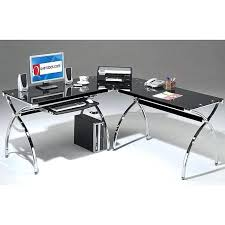 glass l shaped computer desk smoked tempered glass l shaped computer desk realspacer mezza l shaped