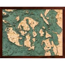 Wood Bathymetric Charts San Juan Islands Bathymetric Wood Chart