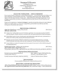 Early Childhood Resume Cool Early Childhood Education Resume Free Letter Templates Online