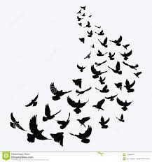 flying birds tattoo clipart. Exellent Flying Download Silhouette Of A Flock Birds Black Contours Flying  Pigeons Throughout Birds Tattoo Clipart T