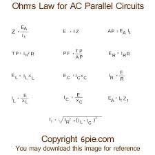 alternating current circuit. ohm\u0027s law formulas for ac parallel circuits alternating current circuit c
