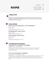 Resume Templates For Civil Engineer Freshers Download Free