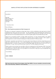 letter for work experience example ledger paper sample letter of application for work experience placement doc