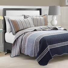 Navy Bedding and Navy Quilts – Ease Bedding with Style & FT Home Fashion Navy Blue Beige Striped Print 100% Cotton Quilted Coverlet  Set, King Adamdwight.com