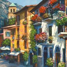 village hideaway limited edition hand embellished giclee on canvas 32 x 24 by howard behrens 1933 2016 numbered and hand signed with certificate of
