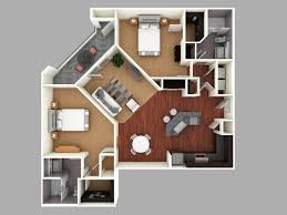 D Colored Floor Plan Architecture Colored Floor Plan - Rental apartment one bedroom apartment open floor plans