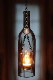 ... Lantern-styled wine bottle pendant light