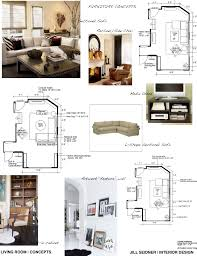 living room furniture plan. concept board and furniture layouts for a living room plan