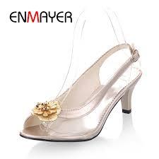 <b>ENMAYER 2018 New Arrival</b> lady Glass glue flower high heel ...