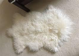 mongolian sheepskin rug genuine wool throw snow white area floor real wool pelt