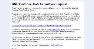 Gnip Historical Data Estimation Request