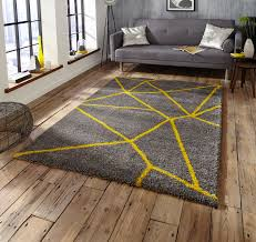 grey yellow gy pile rug royal nomadic geometric design modern home decor mat
