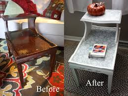 refinished two tier end table before and after