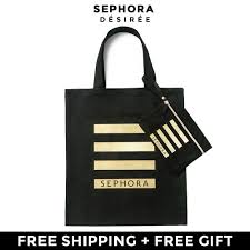 sephora gold stripe collection minimal shoulder black canvas tote bag pouch 2 pieces set 11street msia