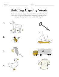 My almost 4 year old loves playing simple rhyming games wherever we go. Matching Rhyming Words Worksheet Education Com