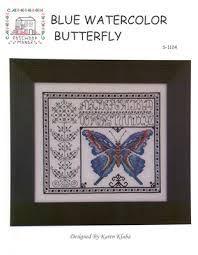 Caron Watercolours Chart Cross Stitch Chart Blue Watercolor Butterfly Rosewood