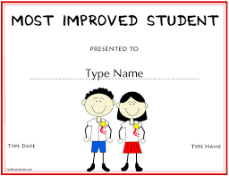 Education Certificates Most Improved Student Award