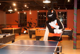 Office game room Theme School Mascot Plays Ping Pong In Hicks Centers Game Room Kalamazoo College Office Of Student Involvement Game Room Kalamazoo College