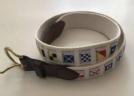 details about leather man ltd mens 32 belt nautical flags white cotton web leather tab brass