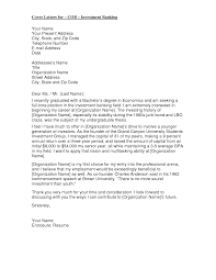 Cover Letter For Cob Investment Banking Cover Letter Investment