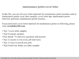 Bunch Ideas Of Resume Maintenance Porter Maintenance Porter Cover
