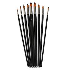 9pcs set nylon hair flat round tip artists paint brush set watercolor acrylic oil painting