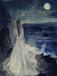"the ballad of religion goers two perspectives on poe s ""annabel  here an artist s rendition of the deceased annabel lee is likened to the moon and a starless night"