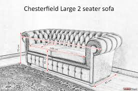 chesterfield 3 seater sofa dimensions